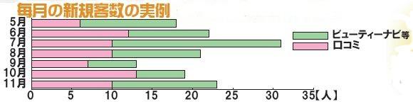 美容室ディアフル 毎月の新規客数の実例